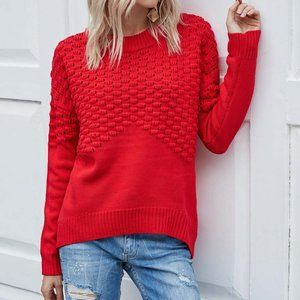 Chateauamour Womens Long Sleeves Red Sweater Small
